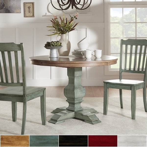 eleanor two-tone round solid wood top dining tableinspire q