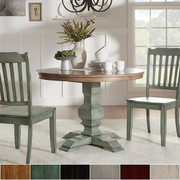 Eleanor two tone round solid wood top dining table by for Solid wood round dining table with leaf