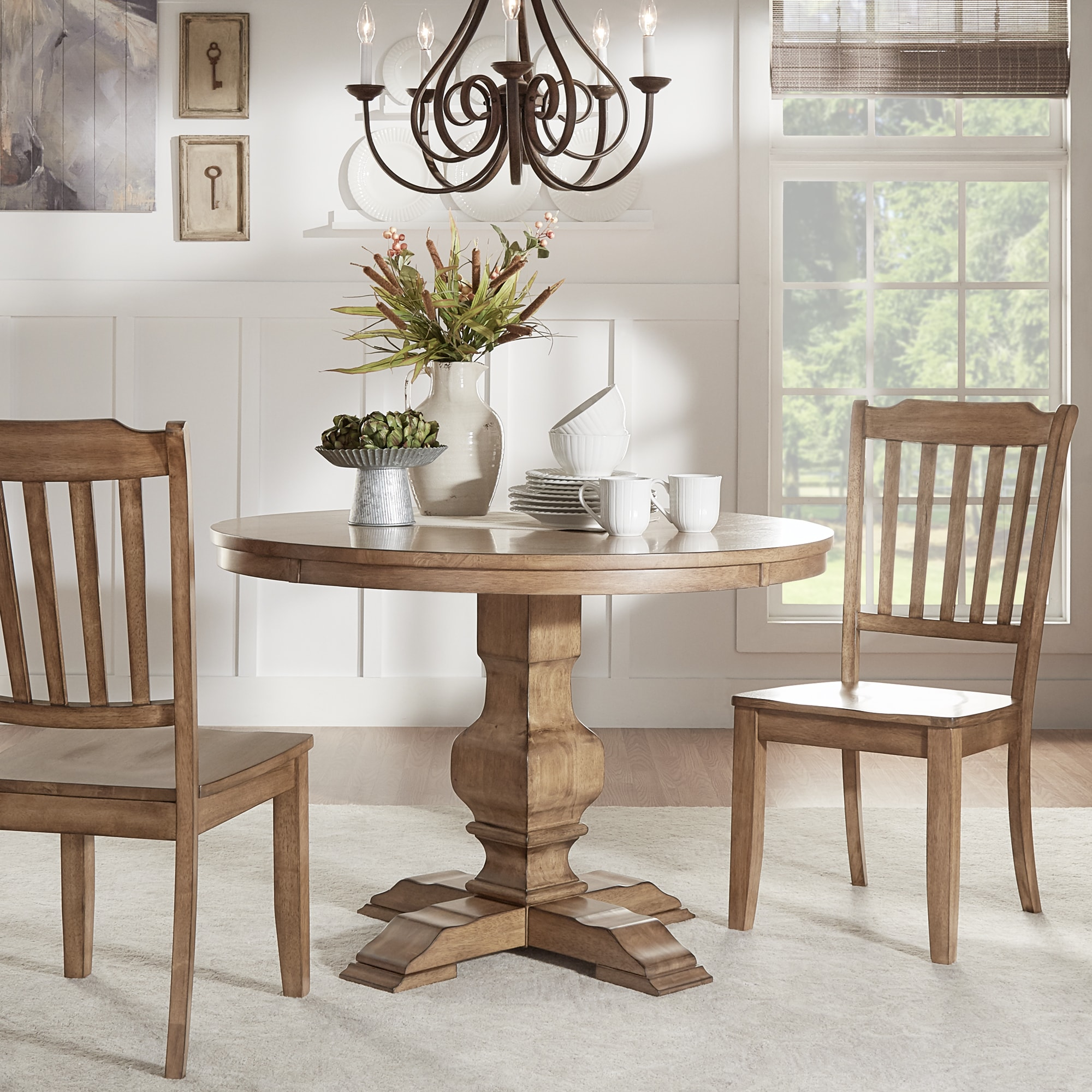 Eleanor Two Tone Round Solid Wood Top Dining Table By Inspire Q Clic