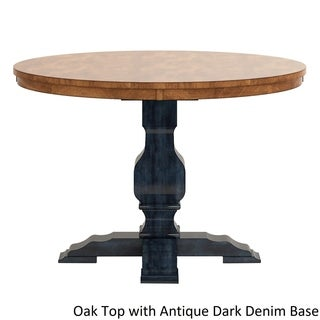 Eleanor Two Tone Round Solid Wood Top Dining Table By INSPIRE Q Classic (5