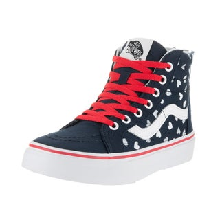 Vans Kids Sk8-Hi Zip Blue Canvas Hearts Skate Shoe