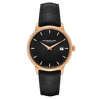 Raymond Weil Men's Black Leather and Goldtone Steel Watch