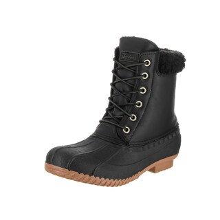 Skechers Women's Duck Waddle Black Leather and Faux Fur Boots