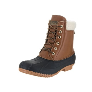 Skechers Women's Duck Waddle Brown Leather and Faux Fur Boots