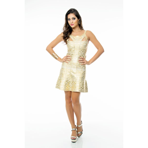 Sara Boo Chich Golden A-Line Bandage Dress