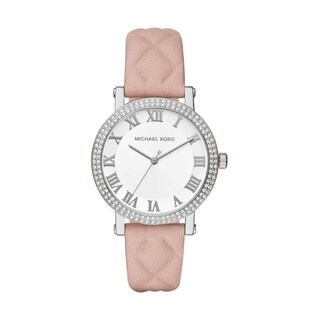 Michael Kors Women's MK2617 Norie White Dial Pink Quilted Leather Watch