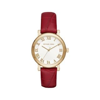 Michael Kors Women's MK2618 Norie White Dial Garnet Leather Watch