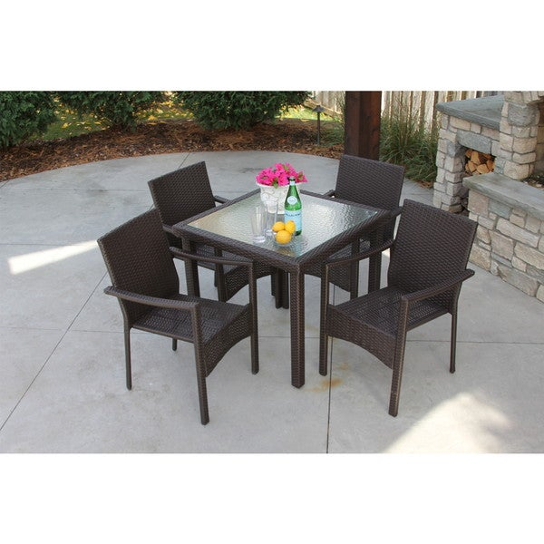 5 piece recessed glass dining set outdoor all weather