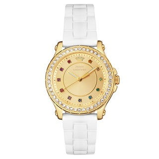 Juicy Couture Pedigree Stainless Steel Yellow Gold Ion Plated Women's Silicone Strap Watch