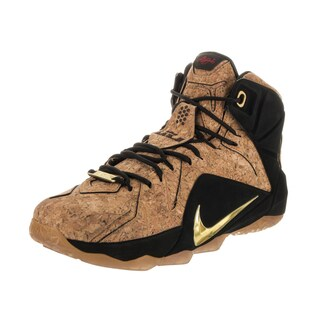 Nike Men's Lebron XII Ext Cork Black and Natural Synthetic Leather Basketball Shoes