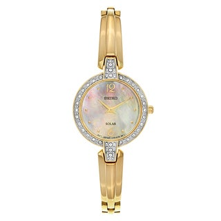 Seiko Yellow Gold Plated Stainless Steel Mother of Pearl Timepiece
