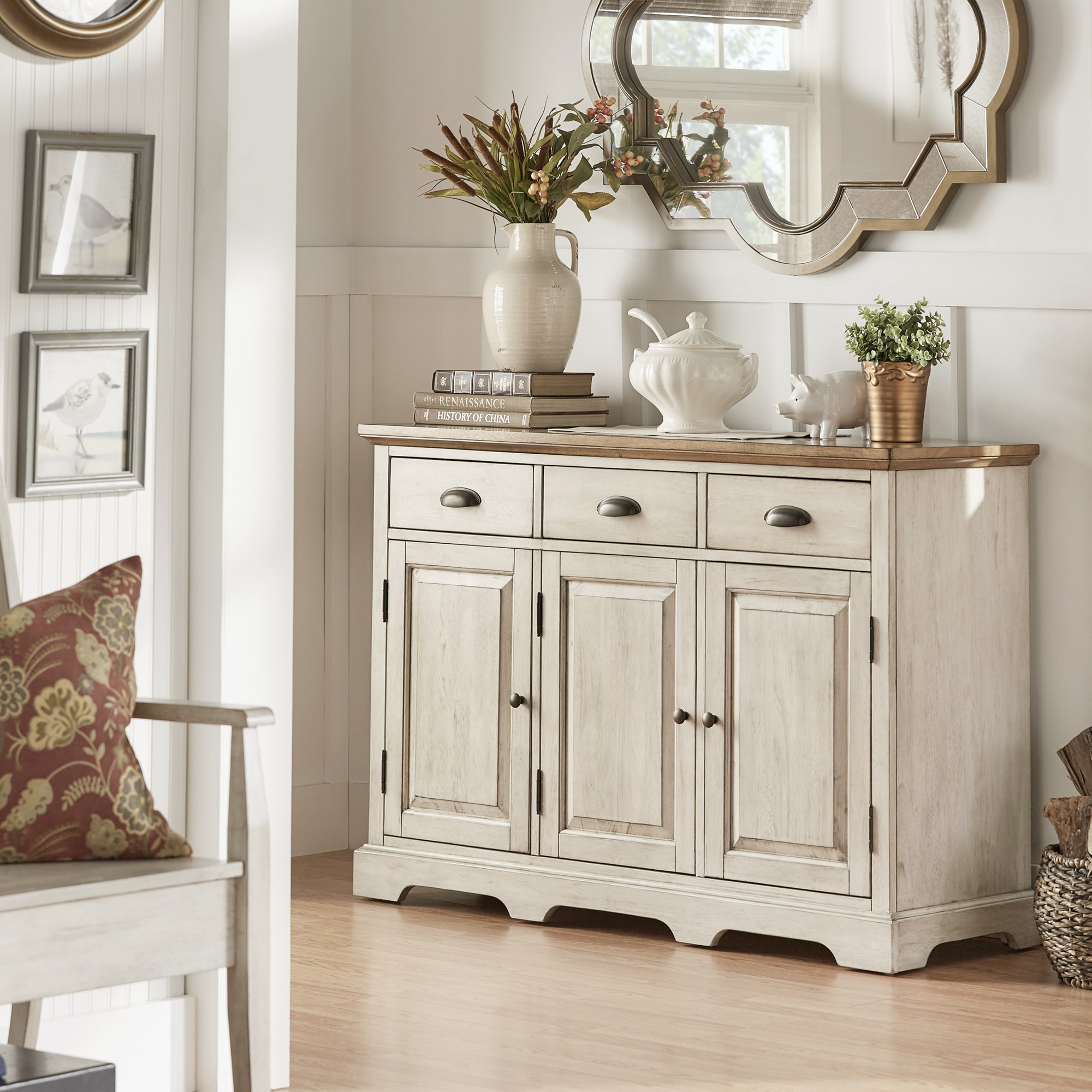 Eleanor Two Tone Wood Cabinet Buffet Server By INSPIRE Q Classic (3 Options  Available