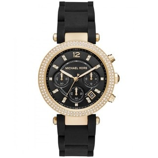 Michael Kors Women's MK6404 Parker Chronograph Black Dial Black Silicone-Wrapped Steel Bracelet Watch