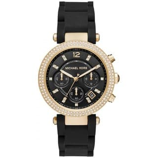Michael Kors Women's MK6404 Parker Chronograph Black Dial Black Silicone-Wrapped Steel Bracelet Watch|https://ak1.ostkcdn.com/images/products/13476432/P20162874.jpg?impolicy=medium