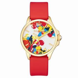 Juicy Couture Jetsetter Stainless Steel Women's Red Silicone Strap Watch