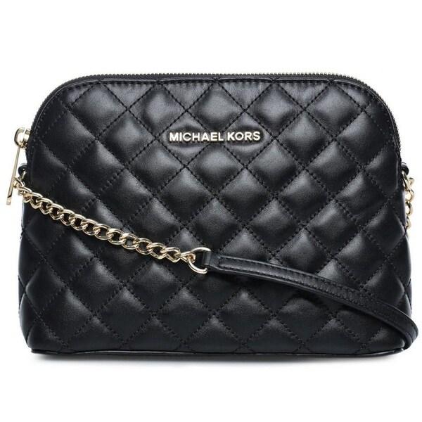9e58599b7a5a Shop Michael Kors Cindy Large Black Dome Crossbody Handbag - Free ...