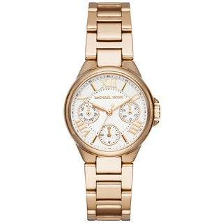 Michael Kors Women's MK6449 Mini Camille Multi-Function White Dial Gold-Tone Stainless Steel Bracelet Watch