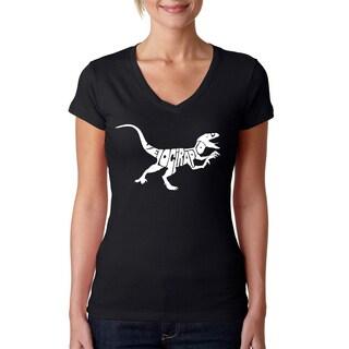 Los Angeles Pop Art Women's Velociraptor V-neck T-shirt