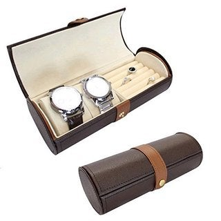 Ikee Design Leatherette Watch, Bracelet, and Ring Storage Travel Jewelry Case