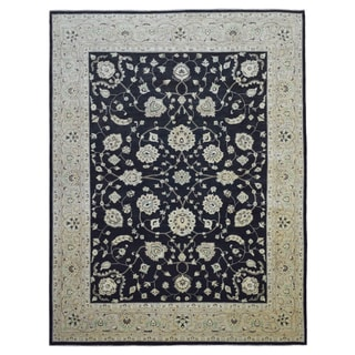 Fine Rug Collection Hand-knotted Peshawar Black Wool Rug (9'1 x 11'9)