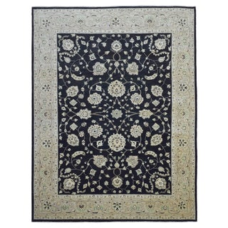 FineRugCollection Hand-knotted Peshawar Black Wool Rug - 9'1 x 11'9