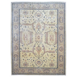 Fine Rug Collection Hand Knotted Peshawar Beige Wool Rug (9' x 11'10)