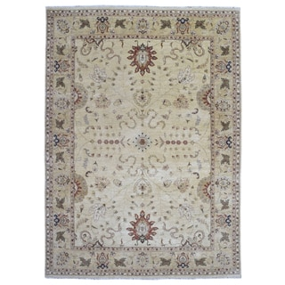 Fine Rug Collection Hand Knotted Peshawar Beige Wool Rug (9' x 12'1)