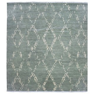FineRugCollection Handmade Modern Turkish Knot Green Wool Rug (10'2 x 10'1)