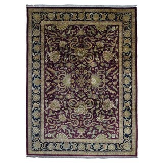 FineRugCollection Hand-knotted Tabriz Burgundy Wool Rug (9' x 12')