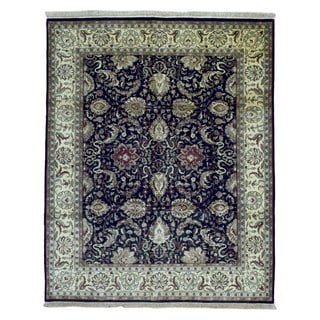 FineRugCollection Hand-knotted Tabriz Black Wool Rug (8' x 10')
