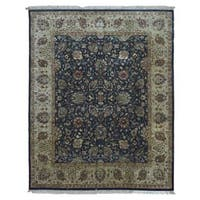 FineRugCollection Hand-knotted Tabriz Navy Wool Rug (8' x 10')