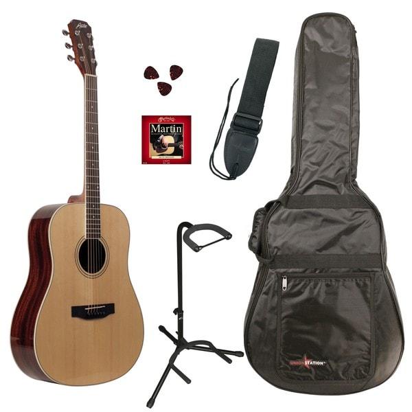 Austin Guitars AA25-DNPKD Dreadnought Acoustic Guitar Pack, Natural