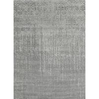 Pasargad Transitional Collection Silver Wool/Rayon From Bamboo Hand-knotted Area Rug (8'1 x 10'0)