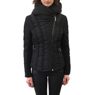 ZAC Zac Posen 'Emily' Women's Black Polyester Down, Nylon, Spandex, and Grosgrain Coat with Removable Hood