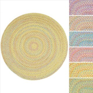 Playful Indoor / Outdoor Reversible Round Braided Rug by Rhody Rug, 4 ft Round - 4'