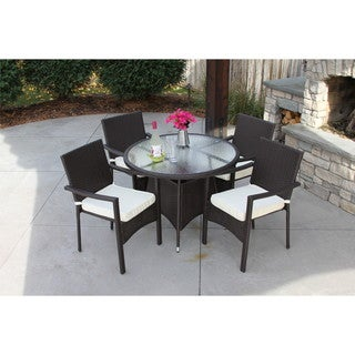 5PC Baker Round Table - Outdoor All Weather Rattan Wicker Patio Garden Brown DIning Set