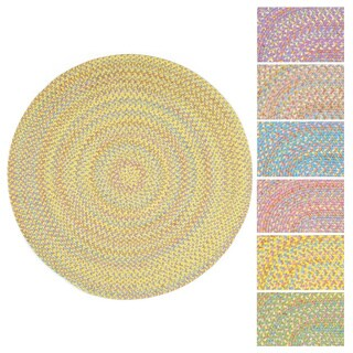 Playful Indoor / Outdoor Reversible Round Braided Rug by Rhody Rug, 6 ft Round - 6'