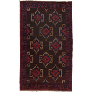 ecarpetgallery Hand-Knotted Bahor Red, Brown, and Blue Wool Rug (3'8 x 6'3)