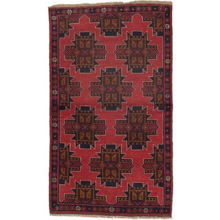 ecarpetgallery Hand-Knotted Bahor Red and Brown Wool Rug (3'8 x 6'3)