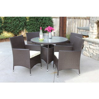 5PC Round Table - Outdoor All Weather Rattan Wicker Patio Garden Brown Dining Set