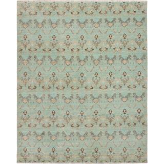 ecarpetgallery Hand-Knotted Finest Ushak Blue  Wool Rug (8'3 x 10'3)