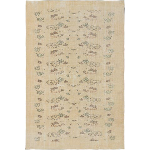 Hand-knotted Antalya Vintage Gold Wool Rug