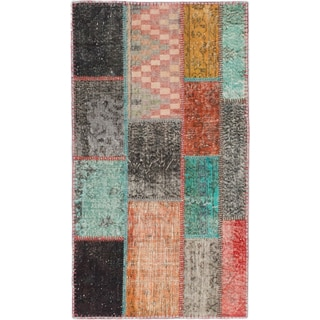 ecarpetgallery Hand-Knotted Color Transition Patch Multi Wool Rug (2'11 x 5'4)