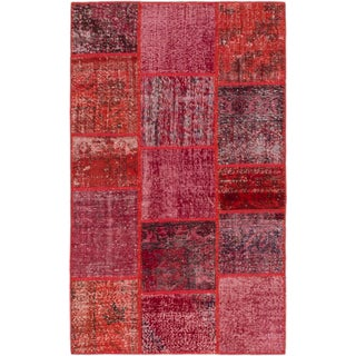 ecarpetgallery Hand-Knotted Color Transition Patch Red Wool Rug (3'11 x 6'7)