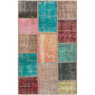 ecarpetgallery Hand-Knotted Color Transition Patch Multi  Wool Rug (3'9 x 5'11)