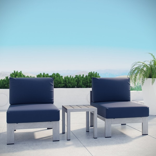 Shop Shore Aluminum Outdoor Sectional Sofa Set Of 3 On Sale Free