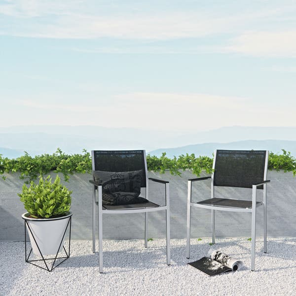 Superb Shop Shore Aluminum Outdoor Dining Chair Set Of 2 On Sale Beutiful Home Inspiration Aditmahrainfo