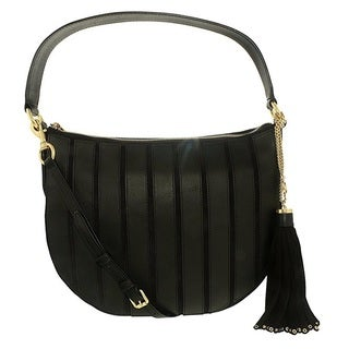 Michael Kors Suede Medium Black Convertible Hobo Handbag