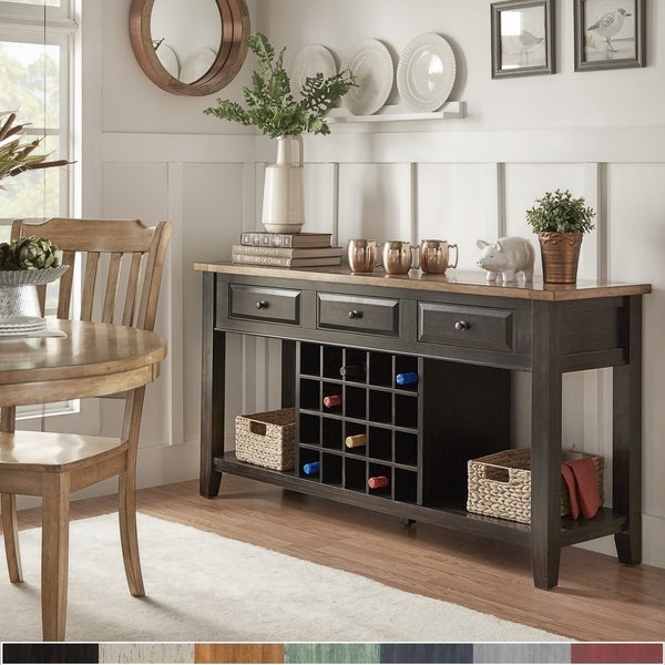 Eleanor Two-Tone Wood Wine Rack Buffet Server by iNSPIRE Q Classic. Opens flyout.
