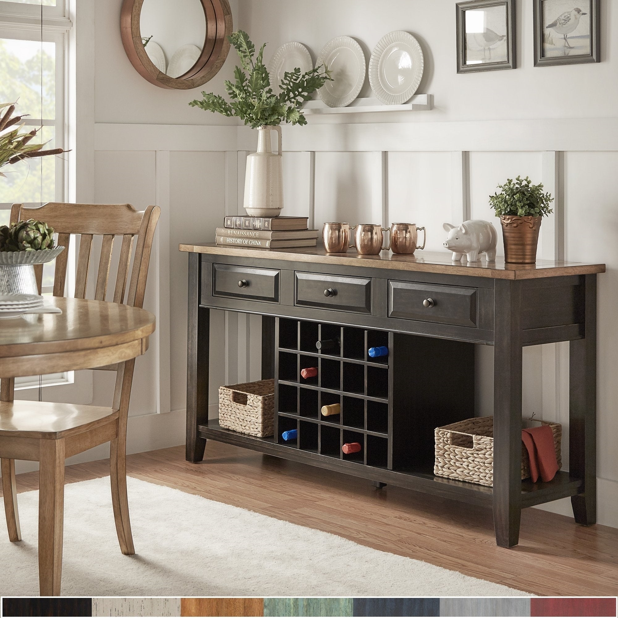 Eleanor Two Tone Wood Wine Rack Buffet Server By INSPIRE